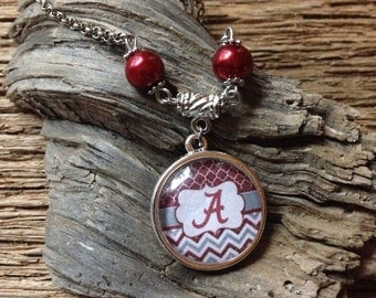 Alabama Roll Tide Roll bracelet: Alabama Crimson Tide pearl chevron bracelet