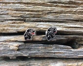 Black labrador retriever earrings: black lab post earrings