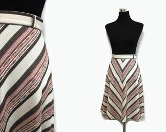 70s Chevron Skirt S / 1970s Midi Skirt / Hippie A Line Skirt