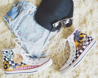 5 Seconds of Summer customized vans! Any bands are available to order!