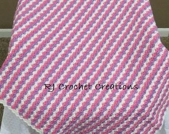 Crochet Afghan Blanket Baby Toddler Girl Pink Purple