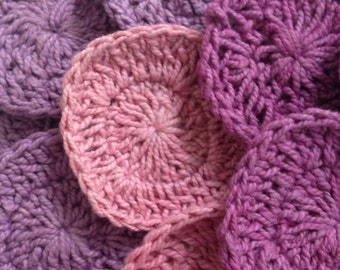 "20 Assorted Crochet Rounds for Craft, ""Deep Pinks"""