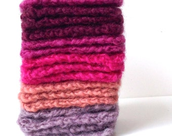 "10 Assorted Knitted Squares for Craft, ""Pinks"""