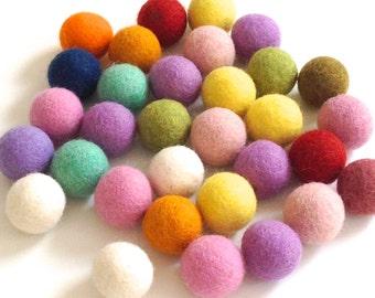 20 Pure Wool Felt balls 2.5cm handmade