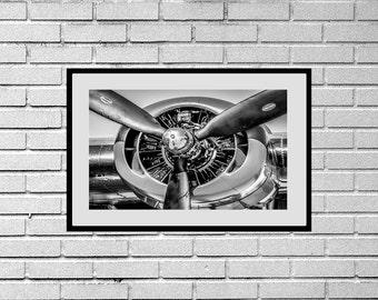 Pratt & Whitney R-1830 Radial Engine B/W Photograph