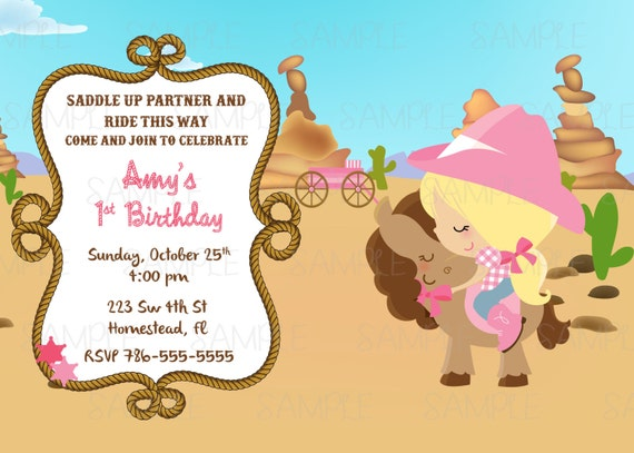 Printable cowgirl birthday party invitation plus free blank matching il570xn filmwisefo Images