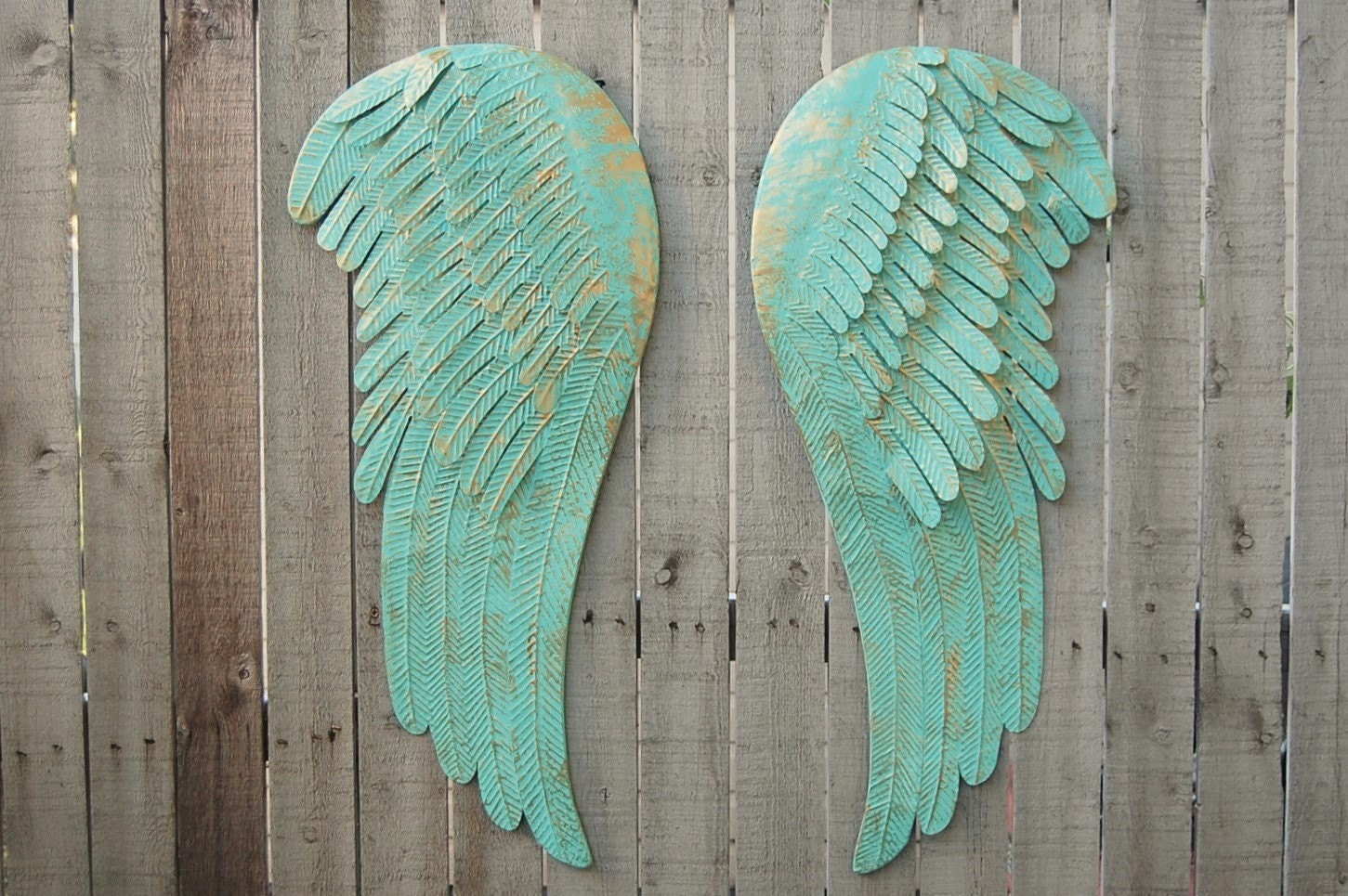 Large angel wings wall decor shabby chic aqua gold metal for Angel wall decoration