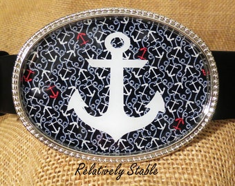 Lilly Pulitzer inspired Ahoy There belt buckle, nautical belt, anchor belt-buckle for snap belts