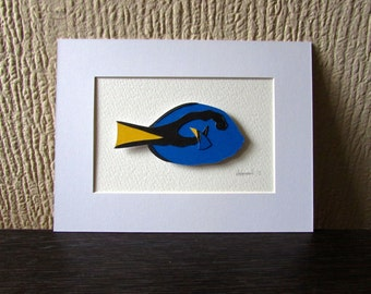Paper Collage Blue Tang Fish