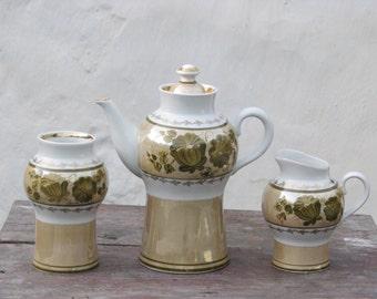 Vintage soviet set of 3 porcelain coffee pot, vase and cream pitcher , 1970s - Home decor - Made in USSR