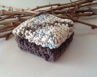 Cotton Dishcloths Set of 2 Crocheted Wash Cloths -All Cotton 7 x 7 inches -DC08