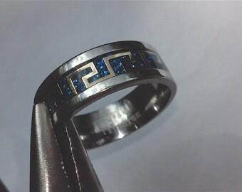 Mens titanium ring saphire blue carbon fiber inlay Mens greek key ring