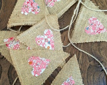Mini hessian bunting with pink rose floral fabric hearts