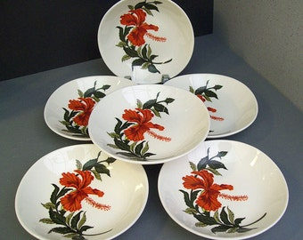 Vintage 1950's Crooksville IVA-LURE Flamingo Pattern – Red Hibiscus – Six Side, Sauce or Berry Bowls – Made in USA - Tropical - Christmas -