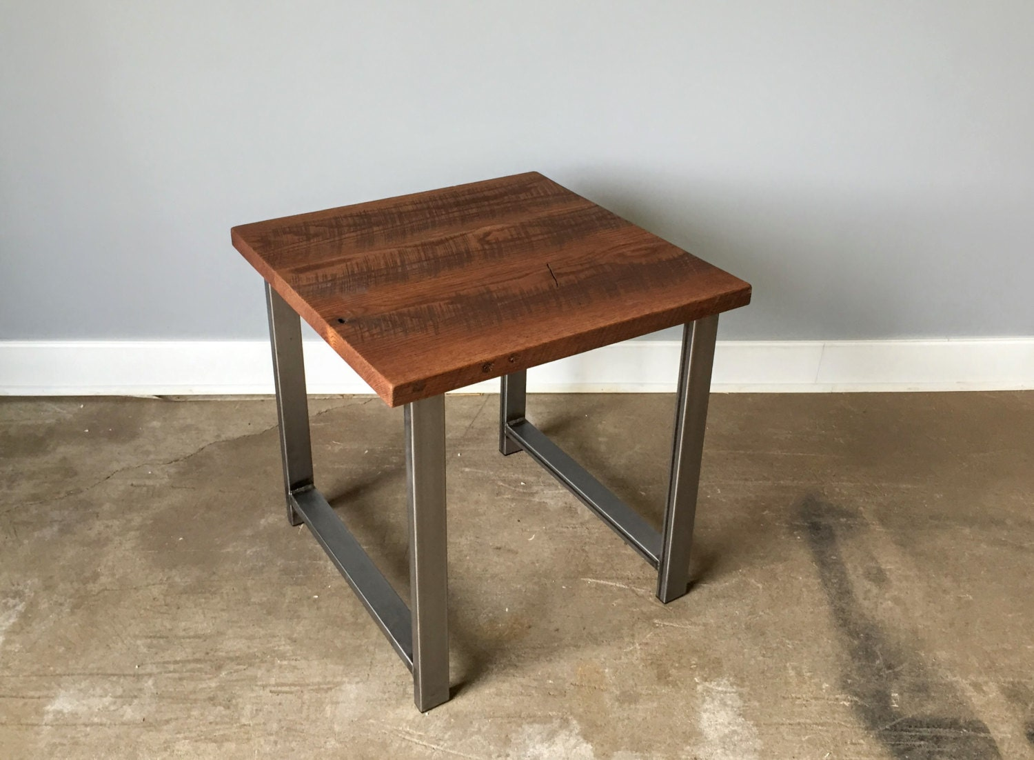 industrial reclaimed wood side table end table steel by wwmake