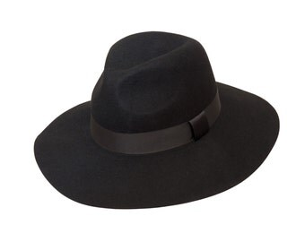 Black Lazy Floppy Fedora with floppy brim in Wool Felt