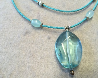 Free Shipping Turquoise double strand necklace with nuggets, glass, and seed beads.