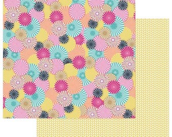 2 Sheets of Photo Play FUN WITH FRIENDS 12x12 Scrapbook Paper - Rosettes