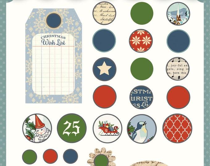 1 Pack of Carta Bella Paper Christmas Wonderland Decorative Brads for Scrapbooking/Cardmaking