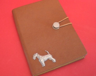 Airedale Terrier Hand Cast Pewter Motif on A6 Note Book Father Mother Airedale Terrier Gift
