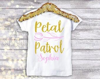 Petal Patrol Flower Girl Shirt, Flower Girl Invite Gift, Personalized Name Optional, Wedding Rehearsal Flower Girl Gift, Sized Newborn-18
