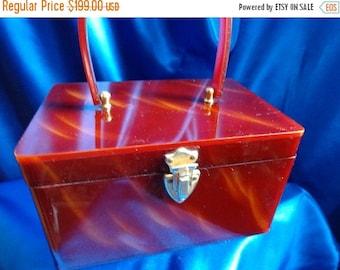 SALE VINTAGE Wilardy Tortoise Swirl LUCITE Box Purse with Gold Metal Trim B31
