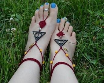 Harry Potter Deathly Hallows Barefoot Sandals ~ Gryffindor