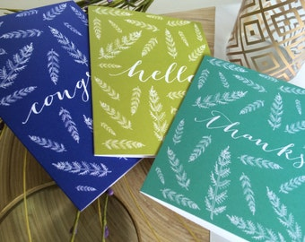 Greeting Card Set - Leaf Cards - Nature Cards - Thank You Card - Congrats Card - Congratulations Card - Just Because Card - Set of Six Cards
