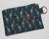 Giraffe Keychain ID Wallet w/ Split Ring, Student / Teacher / Work ID, Badge Holder, Zip Pouch, Africa, Safari - 2 Options for ID Pocket