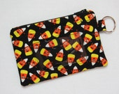 Last one! Halloween / Candy Corn Keychain ID Wallet w/ Split Ring, Student / Teacher / Work ID, Badge Holder, Zip Pouch