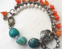 Green orange multistrand dragon bracelet pearl flower chrysocolla statement bracelet gift for her uk shop charm bracelet gemstone