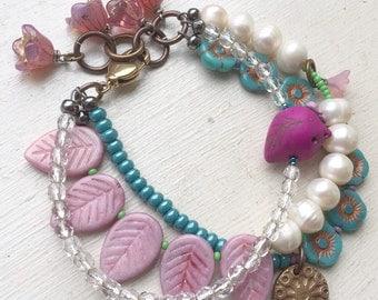 Pink bird bracelet, multistrand bracelet, blue rose bracelet, flower bracelet, uk shop, boho bracelet