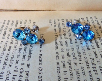 Vintage Earrings Blue Rhinestone Earrings Screw Back Vintage Rhinestone Jewelry