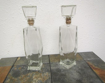 vintage ! 2 LIQUOR DECANTER BOTTLES with 8 sided Glass Cork tops ; Decorative
