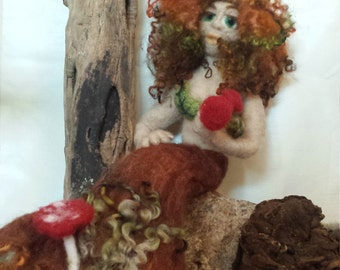 Mermaid of the Forest Felted by FeltLikeItStudio