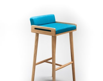 Bar stool / counter wood stool made of solid oak table, oak legs, Upholstered in turquoise cool wool