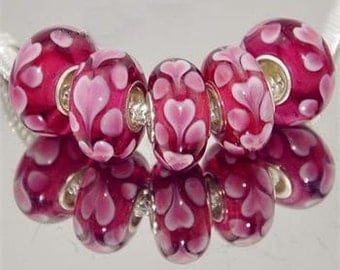 Pink on Pink Hearts Murano Lampwork Glass Bead Charm .925 Silver Core Fits Trollbeads Chamilia Biagi and All European Charm Bracelet