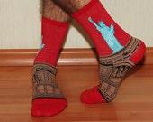 Socks Statue of Liberty, European men socks, style oil painting, art print socks, cotton loose-fitting socks, Dress Casual Socks