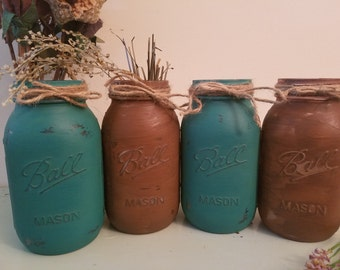 Distressed Mason Jar, Painted Mason Jar, Wedding, Baby Shower, teal and brown, Set of 4