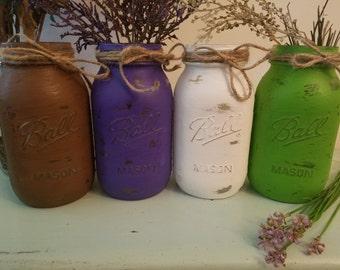 Distressed Mason Jar, Painted Mason Jar, Wedding, Baby Shower, green, purple, brown, white