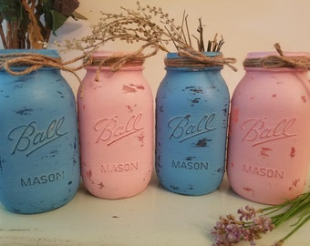 Distressed Mason Jar, Painted Mason Jar, Wedding, Baby Shower Gender Reveal,, Pink and Blue