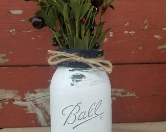 Christmas Decor ~ Fall Mason Jar ~ Christmas Decorations ~White Mason Jar~Christmas Jar