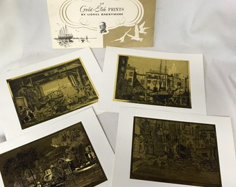 Vintage Nautical Prints - Gold Etch Prints by Lionel Barrymore