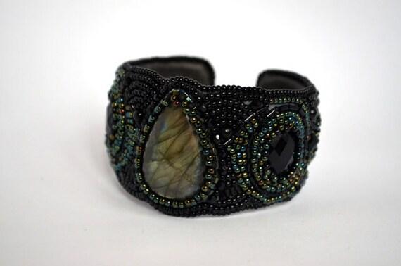 Black bead embroidered labradorite bracelet seed cuff