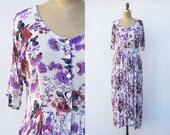 VINTAGE 1990s Soft Grunge Floral Maxi Dress | Boho Indian Gauze Dress | Short Sleeve Button Front Dress | Oversized Flowy Festival  Dress