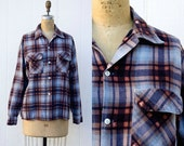 VINTAGE 1970s cotton plaid flannel button down shirt | Lumberjack shirt | 90s Indie grunge flannel shirt | Unisex