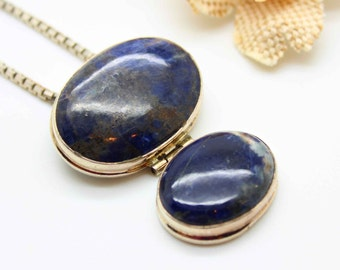 BIG Sterling Silver SODALITE Blue Gemstone PENDANT Necklace on Boxchain-Vintage Estate Jewelry!