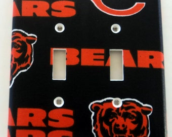 Chicago Bears Print Double Toggle Light Switch Plate Cover
