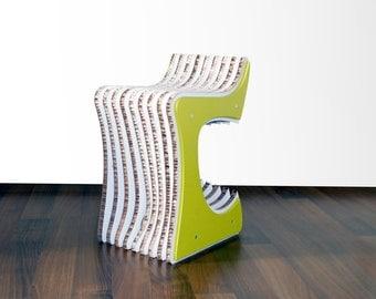 Elvis, cardboard and wood stool.