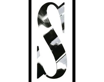"""Framed letterpress """"S"""""""